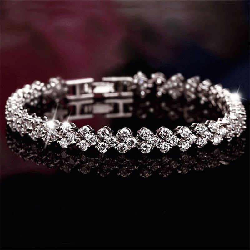 Round Cut Created White Diamond Tennis Bracelet