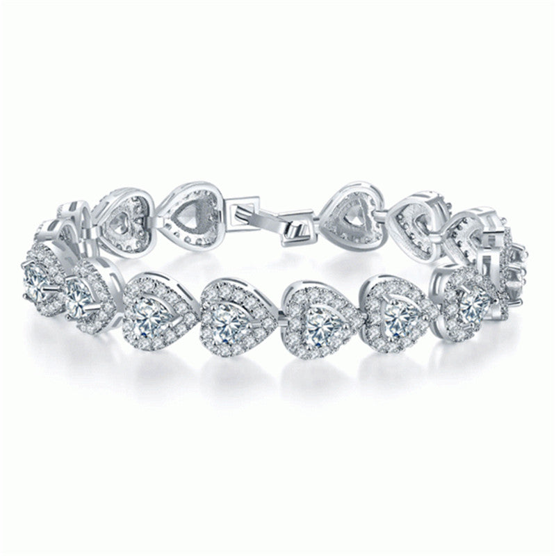 Halo Heart Created White Diamond Bracelet