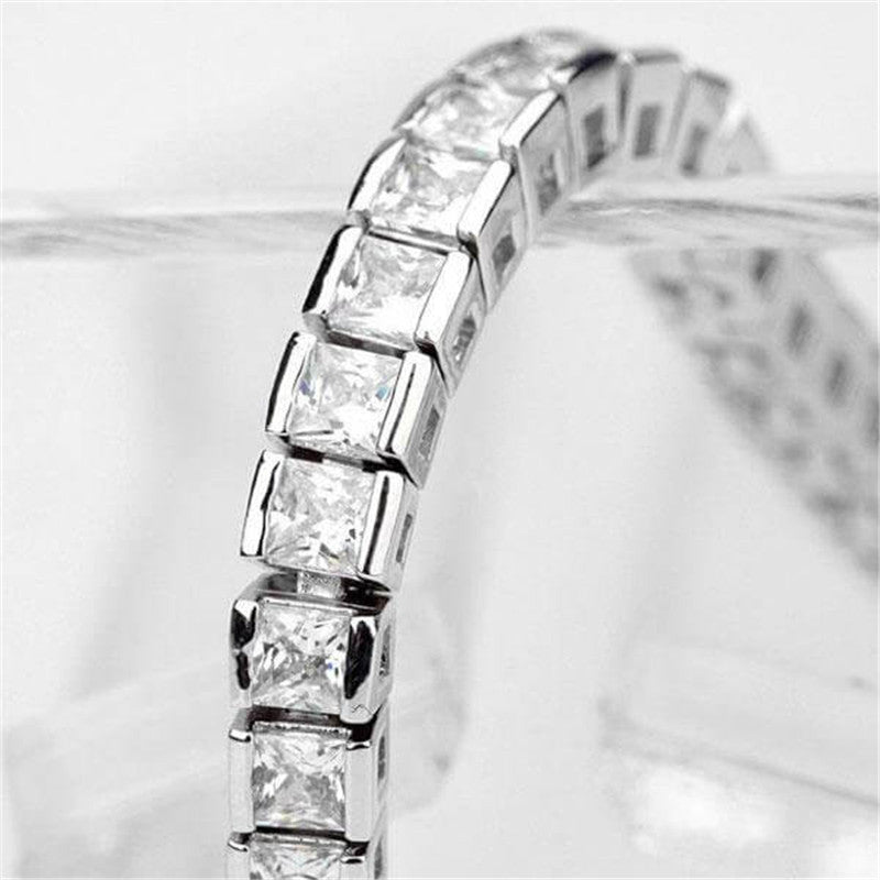 Classic Princess Created White Diamond Tennis Bracelet