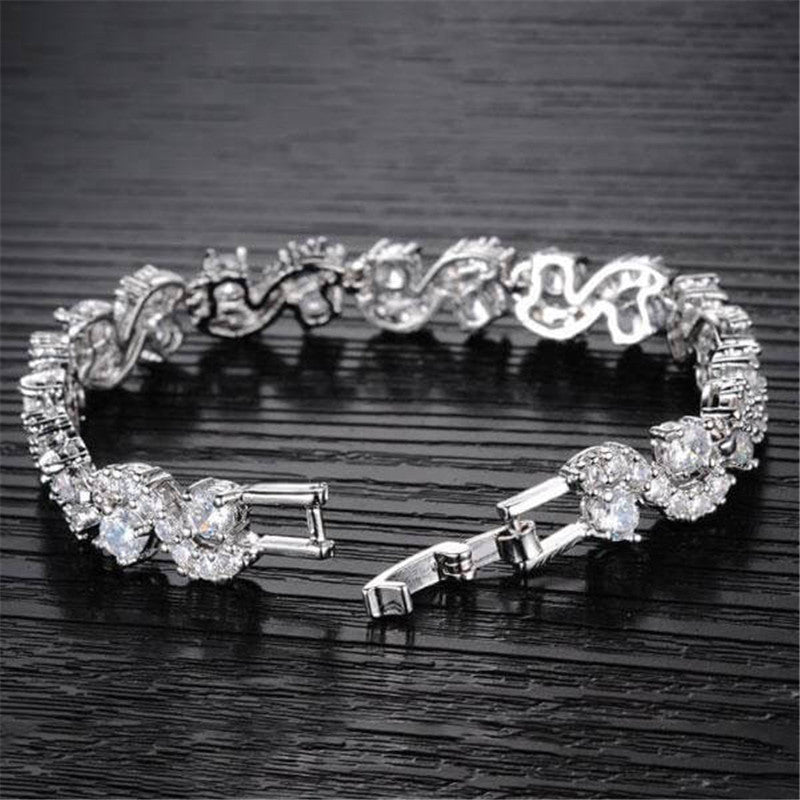Twist Round Created White Diamond Bracelet