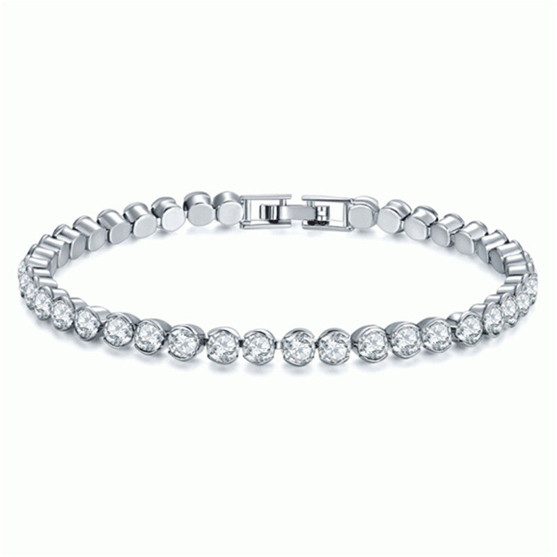 Half Bezel Created White Diamond Tennis Bracelet