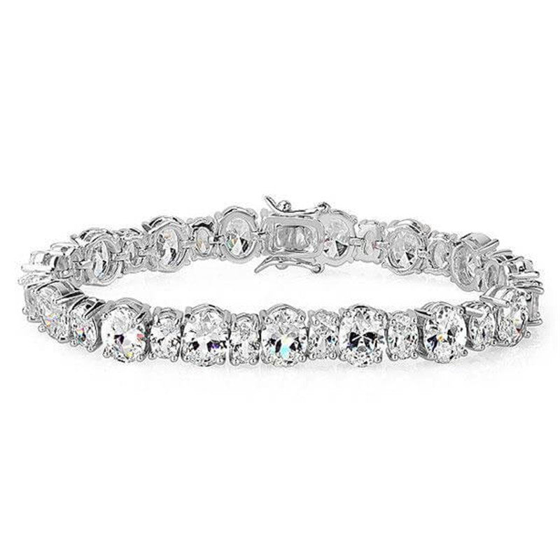 Oval Created White Diamond Tennis Bracelet