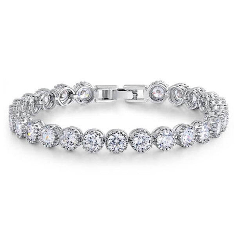 Classic Round Cut Created White Diamond Bracelet