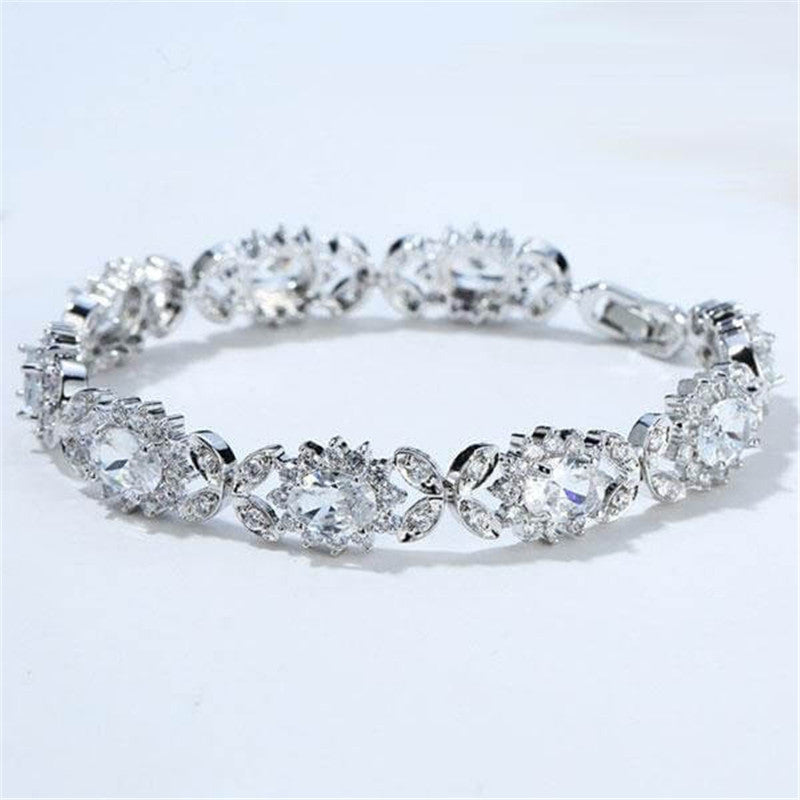 Sunflower Design Created White Diamond Bracelet