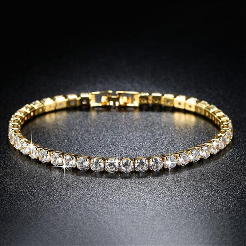 Golden Round Created White Diamond Tennis Bracelet