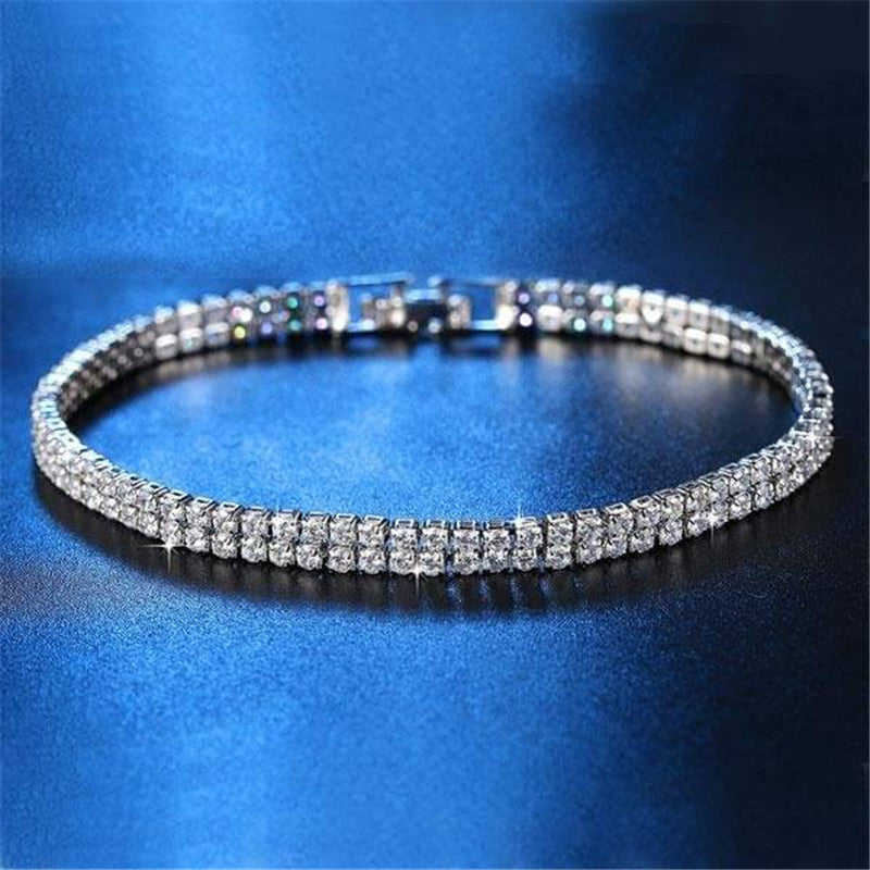 Double Row Created White Diamond Tennis Bracelet
