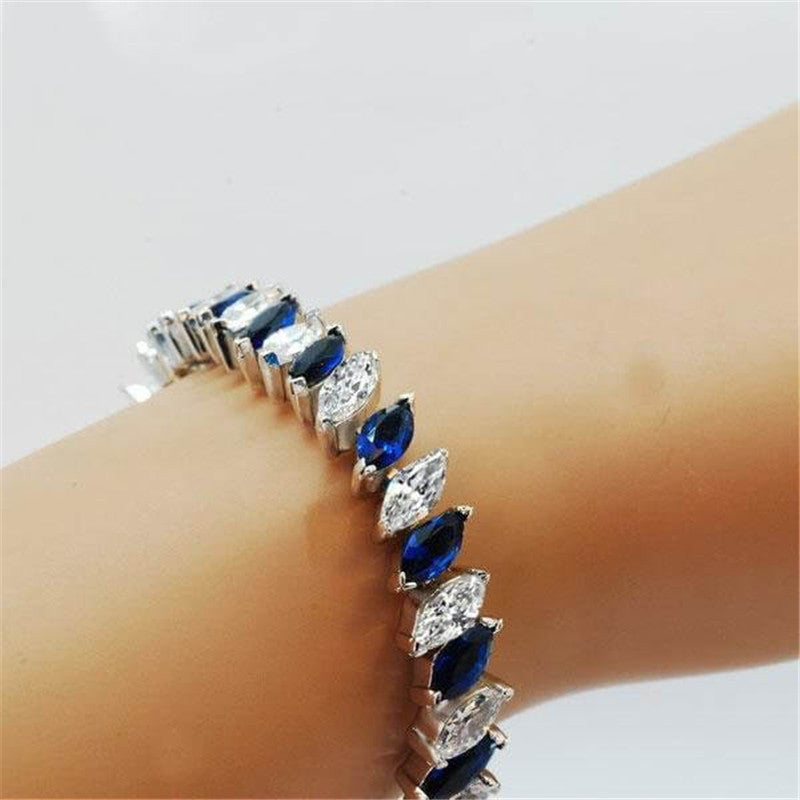 Blue & White Marquise Cut Created Diamond Bracelet
