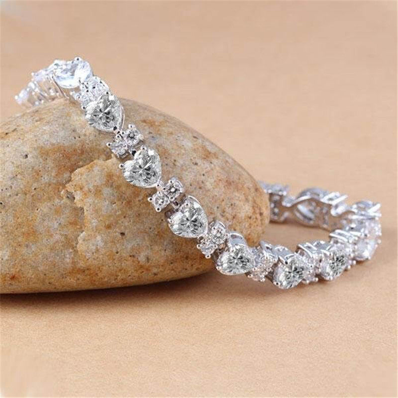 Heart Created White Diamond Bracelet