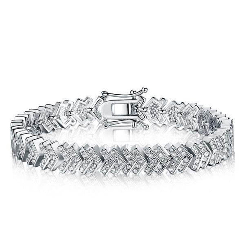 Arrow Design Created White Diamond Bracelet