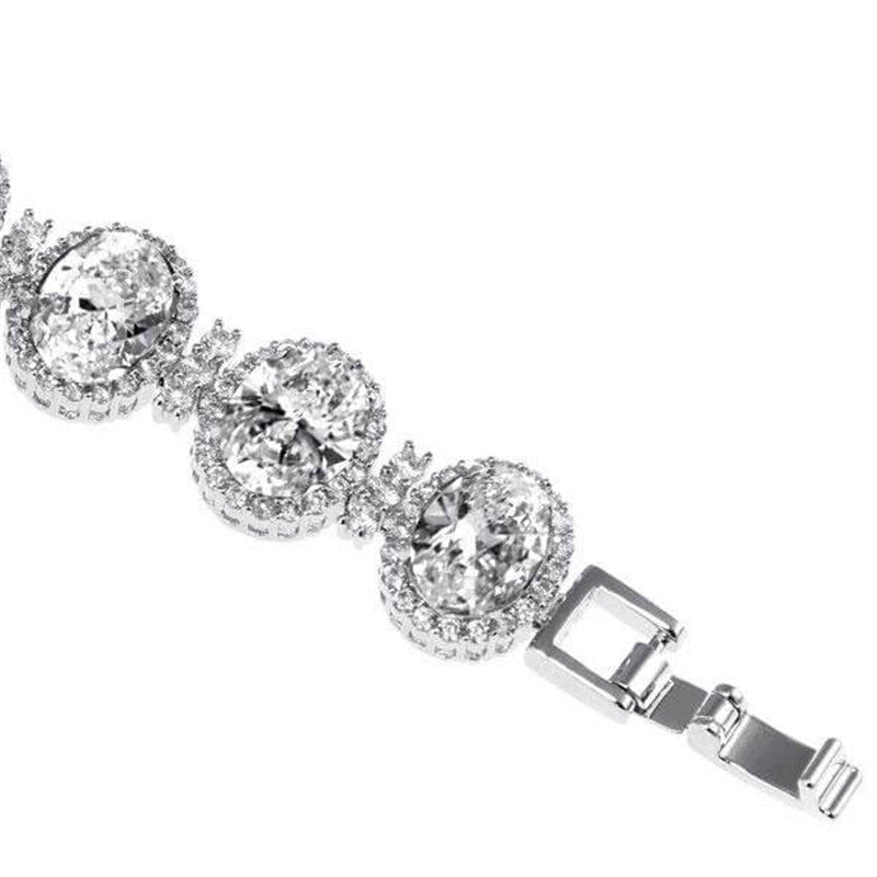 Halo Oval Created White Diamond Bracelet