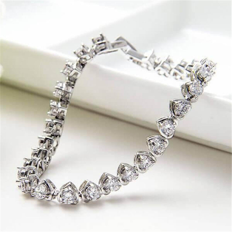 Tennis Sweet Heart Design Created White Diamond Bracelet