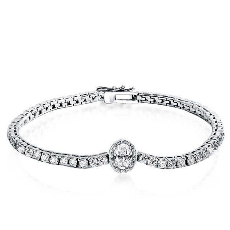 Halo Oval Created White Diamond Tennis Bracelet