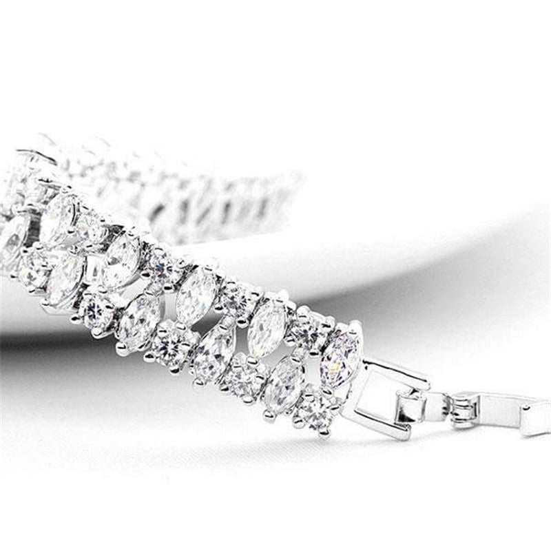 Multi Row Pear Cut Created White Diamond Bracelet