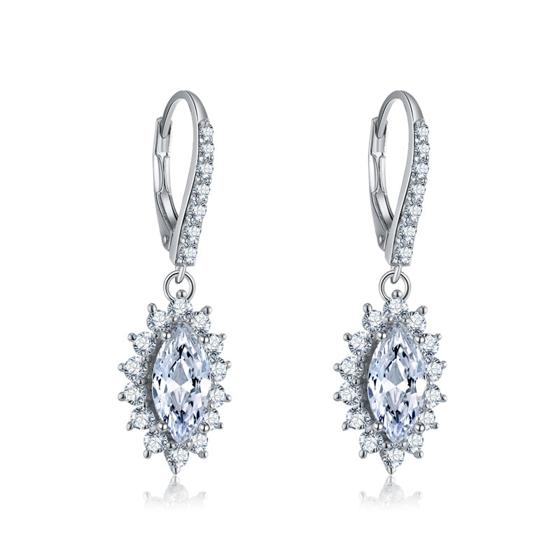 Marquise Shape Created Diamond Drop Hook Earrings