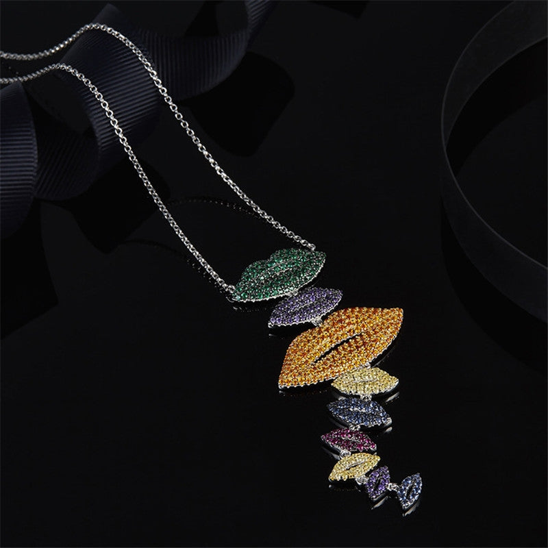 Colorful Lips Pendant Necklace