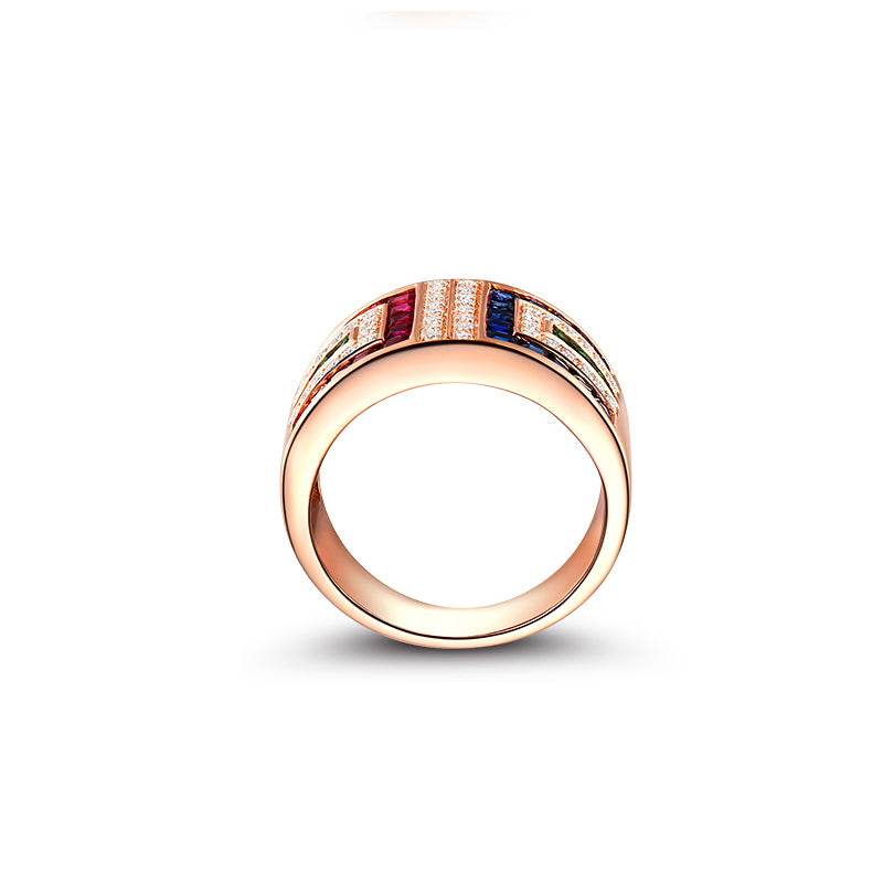 Rose Gold Color Colorful Created Sapphire Half Eternity Rings