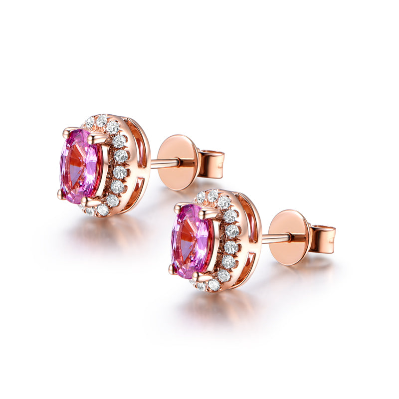 Pink Oval Cut Created Sapphire Halo Earrings