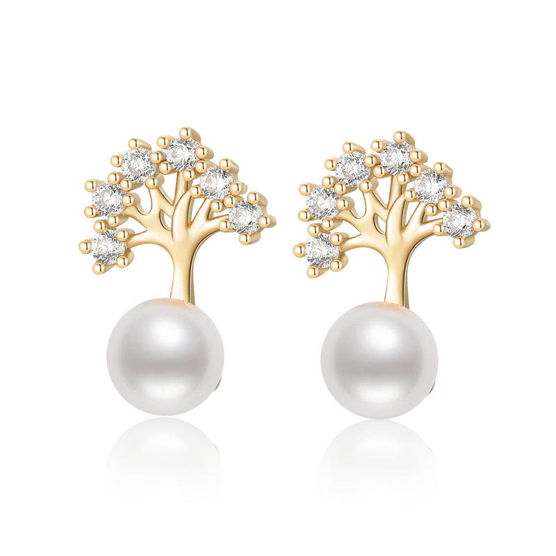 """Tree of Life"" Natural Cultured Freshwater Pearl Earring"