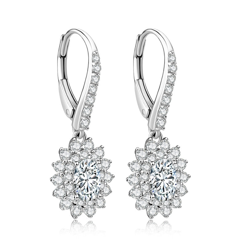 Oval Cut Halo Created Diamond Drop Hook Earrings