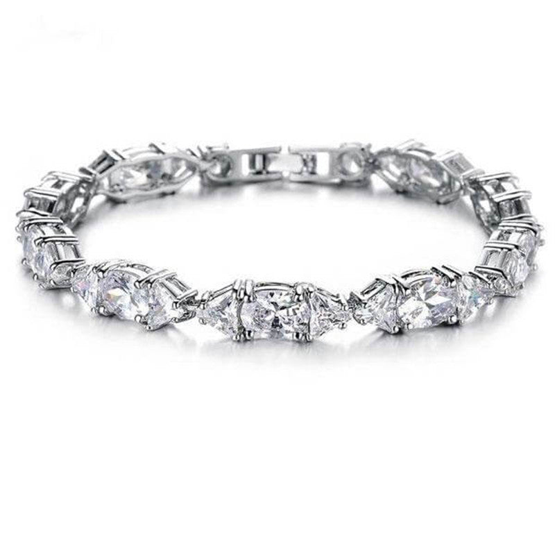 Oval Created White Diamond Bracelet