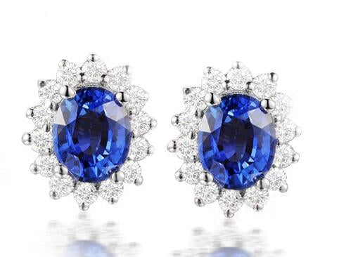 Sterling Silver Round Blue Created Diamond Halo Stud Earrings