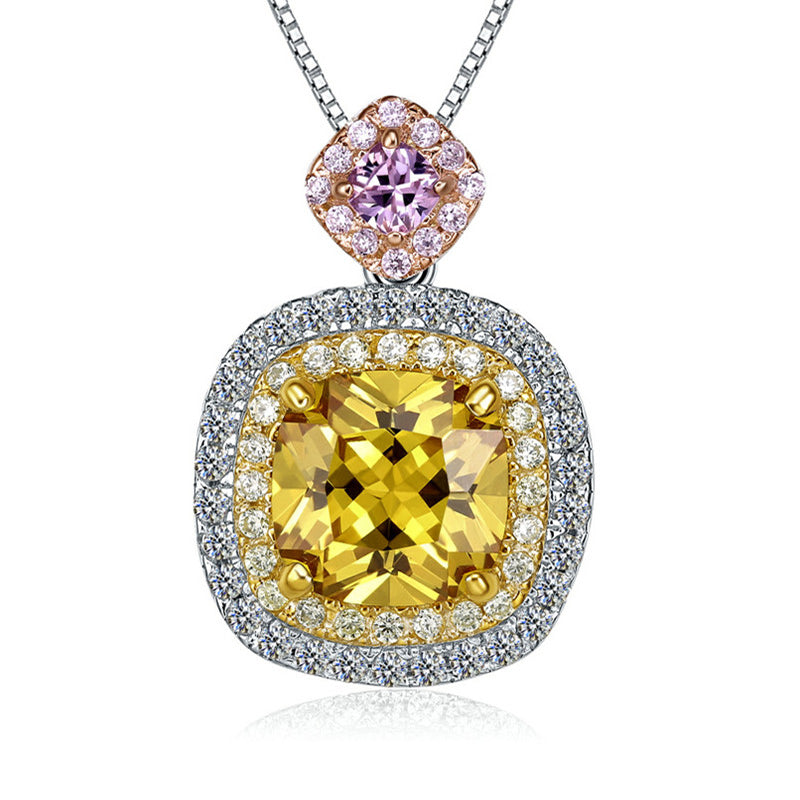 1CT Cushion Cut Created Diamond Pendant Necklace