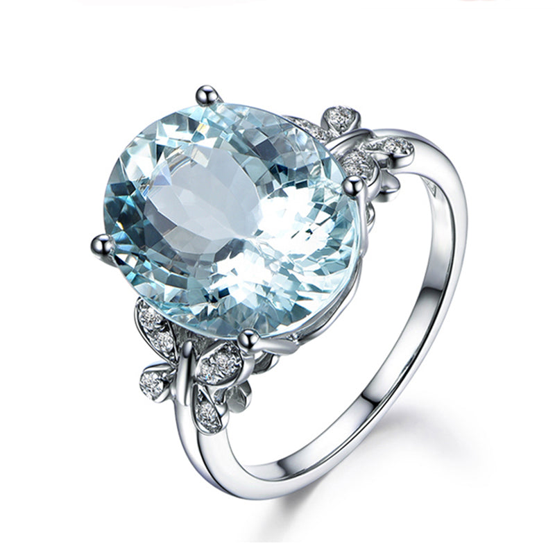 Butterfly Design Oval Blue Natural Topaz Gemstone Ring