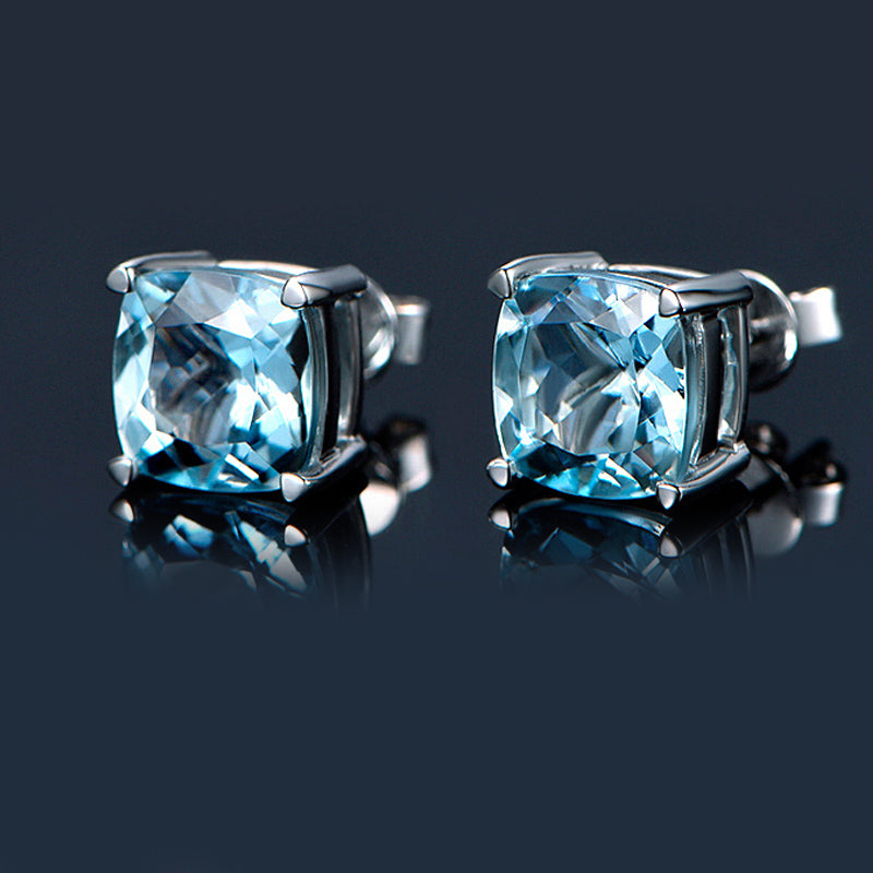 Cushion Blue Topaz Gemstone Sterling Silver Stud Earrings