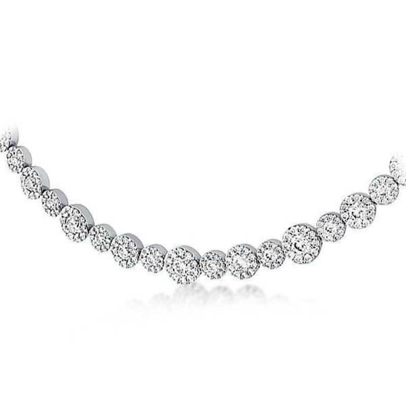 Classic Halo Round Created Diamond Cool Necklace