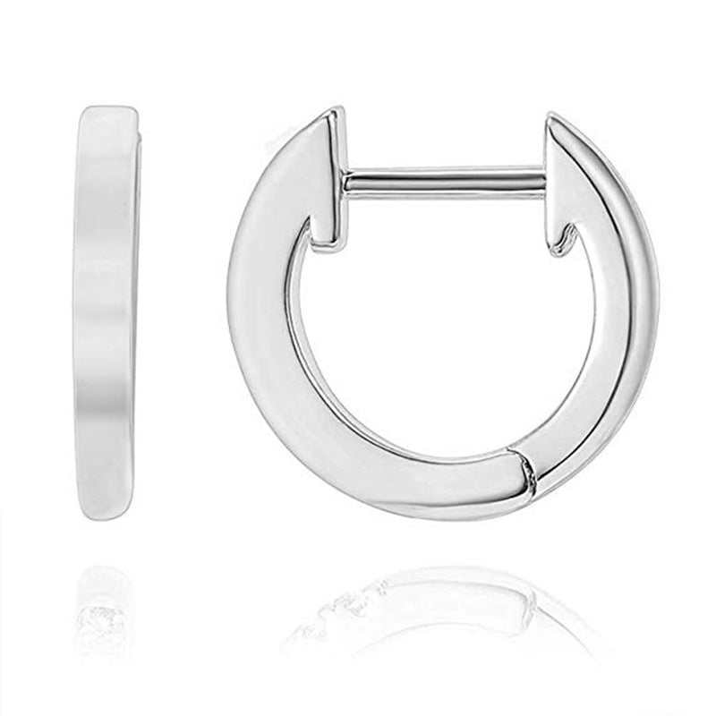 Simple C-shaped Ring Hoop Earrings