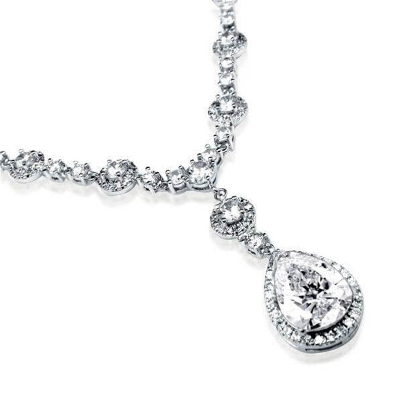 Halo Pear & Round Created Diamond Pendant Necklce