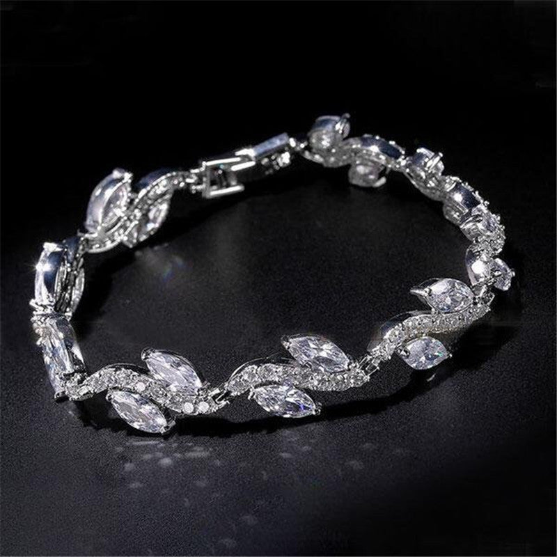 Leaf Design Round & Marquise Cut Created White Diamond Bracelet