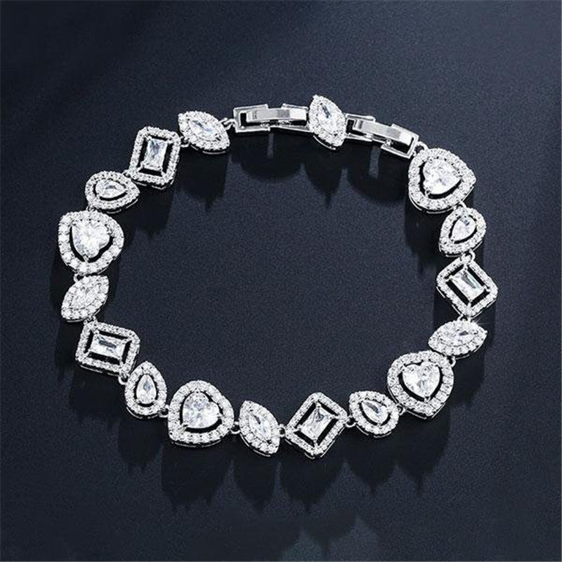 Special Design Halo Heart & Marquise Cut Created Diamond Bracelet