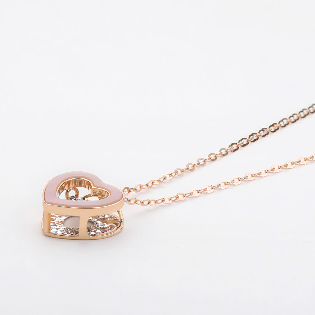 18K Rose Gold 0.021ct Natural Diamond 0.45ct Mother-Of-Pearl Heart Shaped Dancing Pendant Necklace