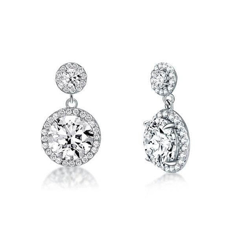 Halo Round Created White Diamond Drop Earrings