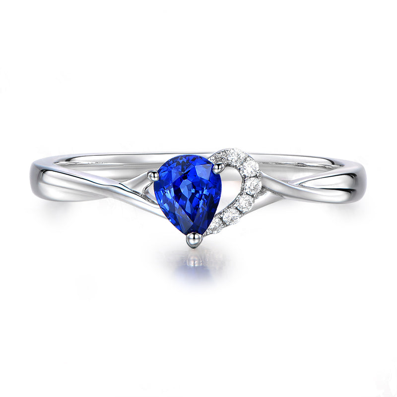 Blue Heart Style Pear Cut Created Sapphire Rings