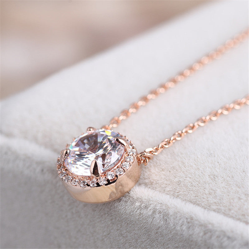 Halo Round Created White Diamond Pendant Necklace