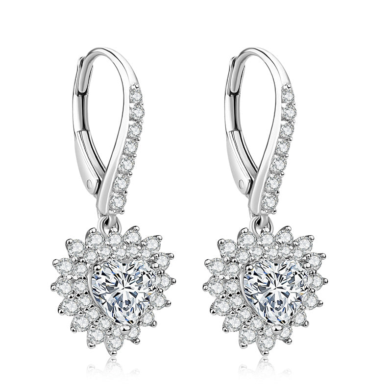 Heart Shape Halo Created Diamond Drop Hook Earrings