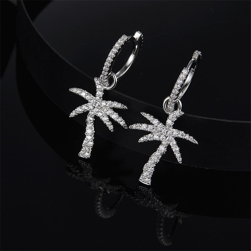 Coconut Tree Created Diamond Hoop Earring