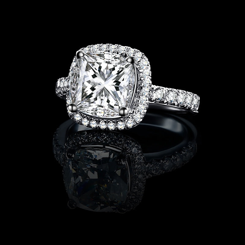 Halo Cushion Created White Diamond Ring
