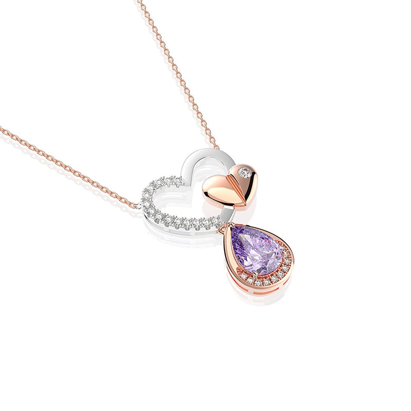 Heart Shaped Drop Stone Pendant Sterling Silver Created Sapphire Necklace