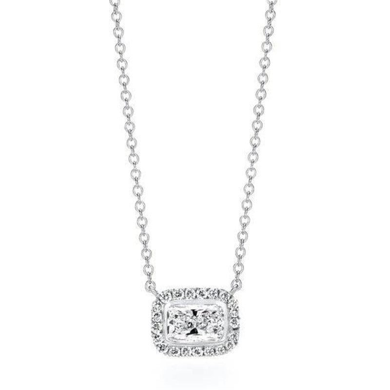 Classic Radiant Halo Created Diamond Pendant Necklace