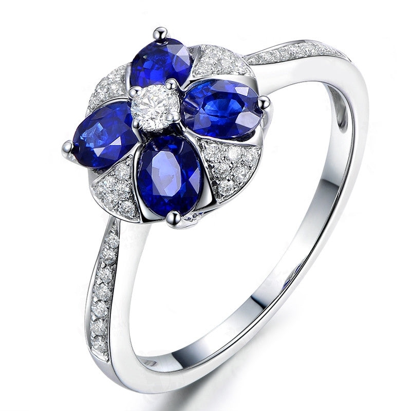 Royal Sterling Silver Oval Blue Created Diamond Halo Bridal Ring