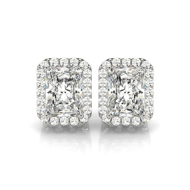 Radiant Halo Created White Diamond Stud Earrings