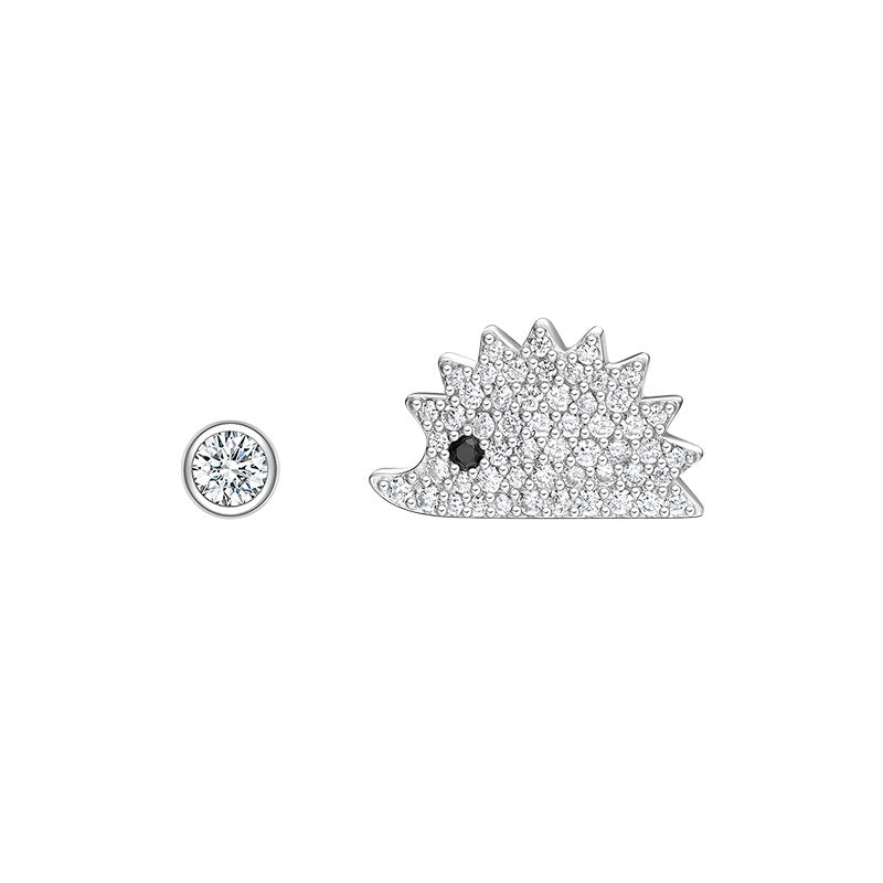 Asymmetric Created White Diamond Hedgehog Stud Earrings