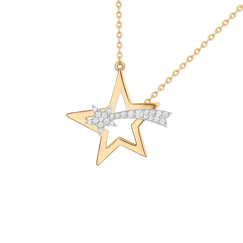 Rose Gold Color Created White Diamond Star Pendant Necklace