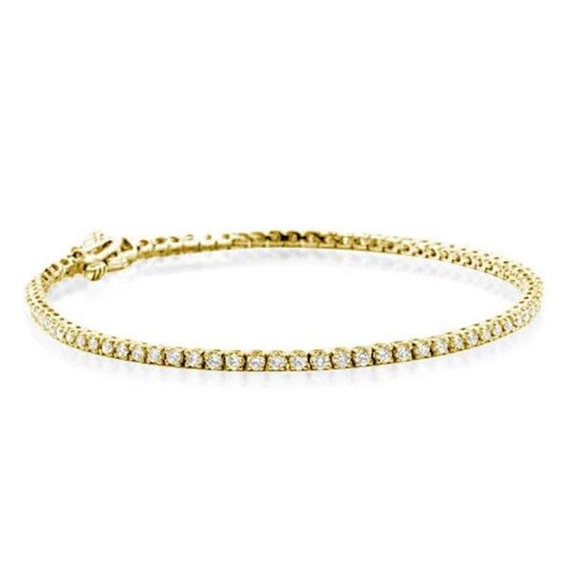 Golden Round Cut Created White Diamond Tennis Bracelet
