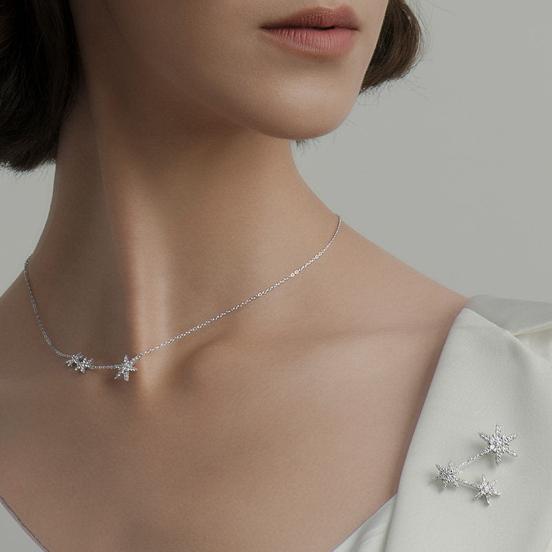 Snowflake Created White Diamond Necklace