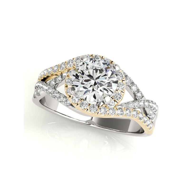 Twist Split Shank Halo Created White Diamond Ring Bridal Set