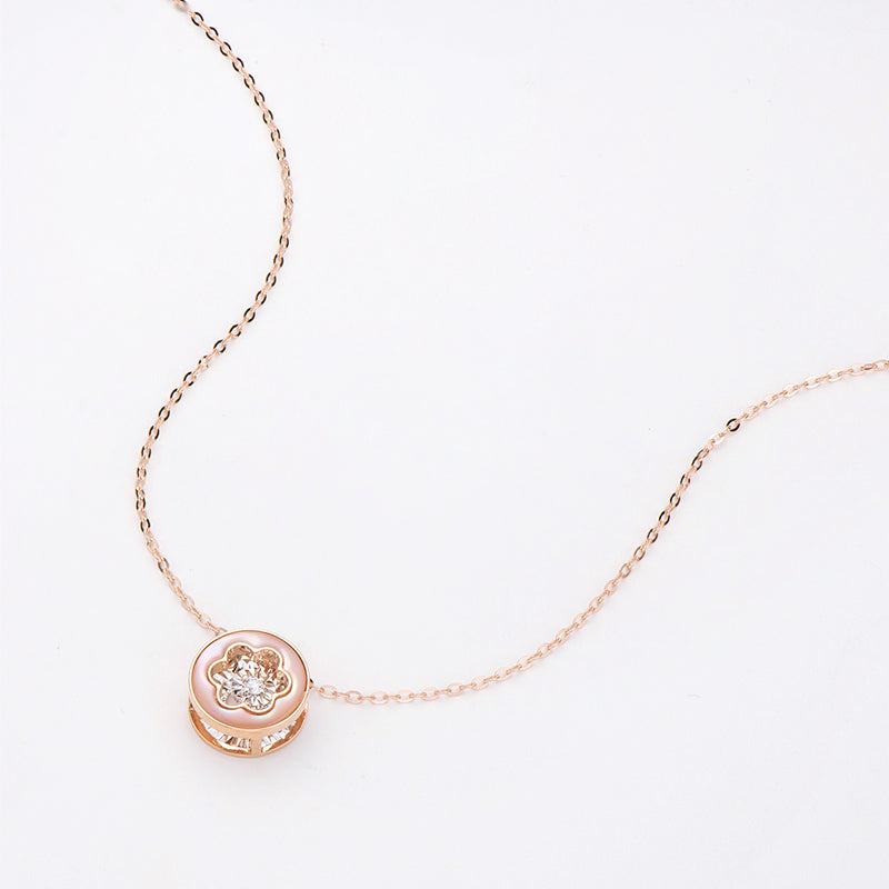 18K Rose Gold 0.021ct Natural Diamond 0.51ct Mother-Of-Pearl Flower Dancing Pendant Necklace